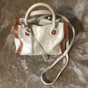 NICOLI off-white and tan leather purse